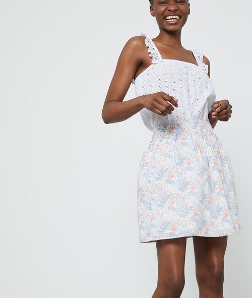 Jupe courte en coton à imprimé feuillage Etam Etam Prêt-à-porter > LES VÊTEMENTS > Jupes > Jupes Patineuses