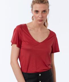 T-shirt col v en tencel® framboise.