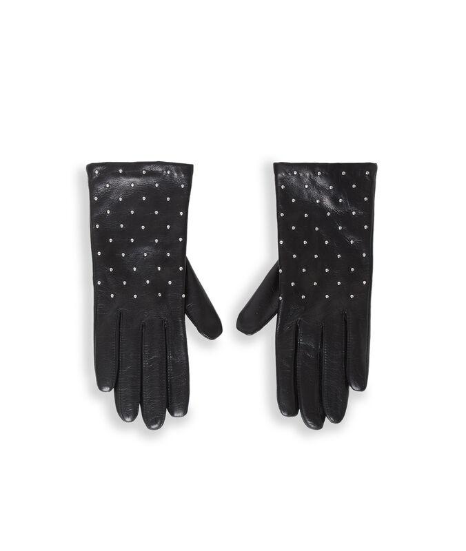 Gants en cuir avec strass noir.