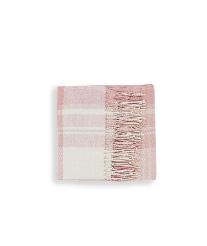 Plaid à carreaux rose pale.