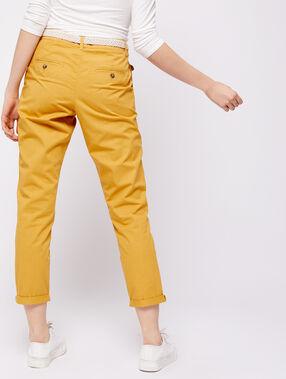 Pantalon court ceinturé en coton bio curry.