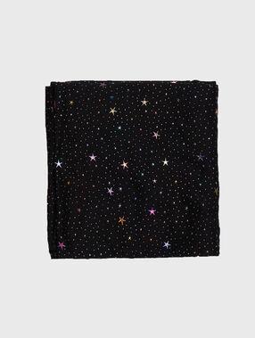 Foulard petites étoiles colorées noir.