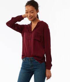 Jacquard blouse met tuniekkraag rood.