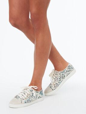 Sneakers met jacquard motief ecru.