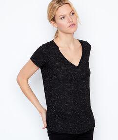 T-shirt col v noir.