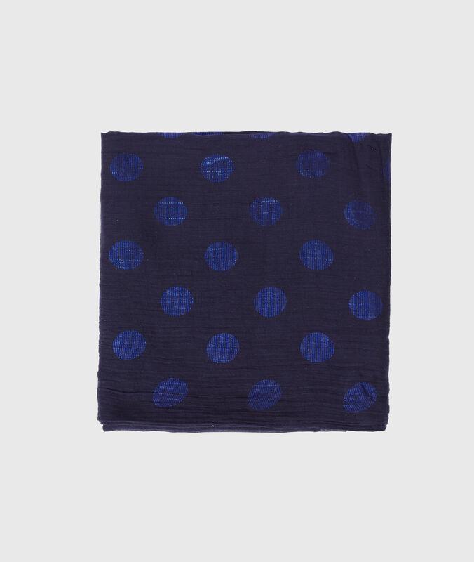 Foulard à pois bleu marine.