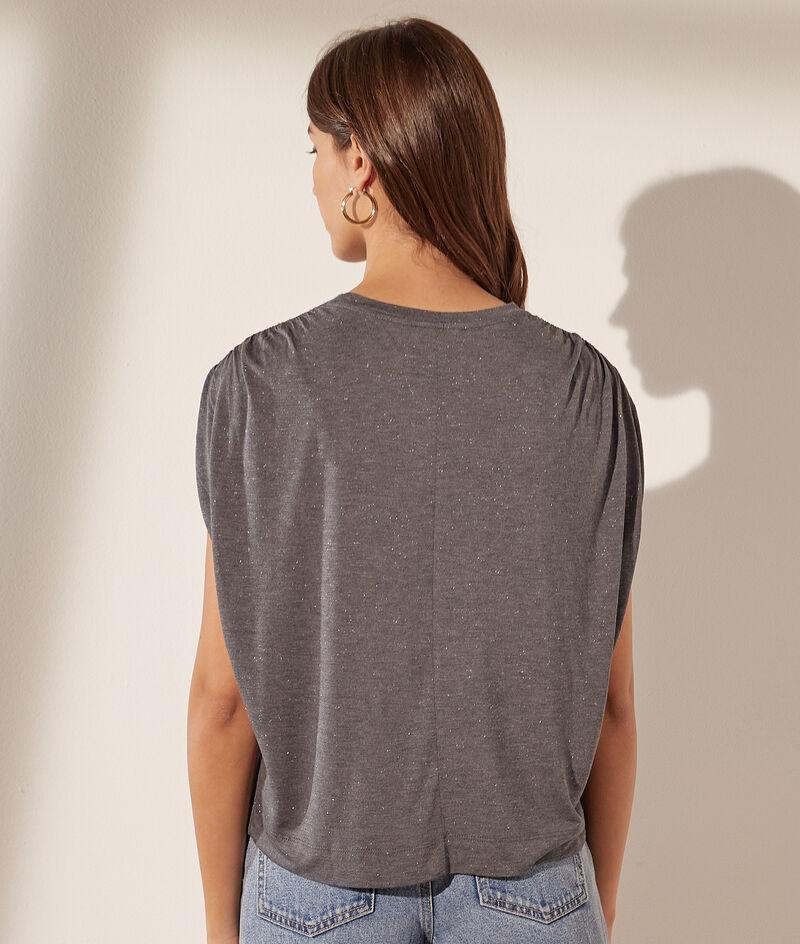 T-shirt met losse mouwen en metallic garen