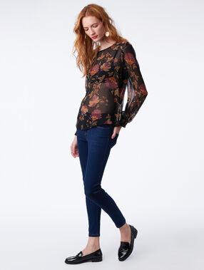 Doorzichtige blouse met bloemenprint zwart.