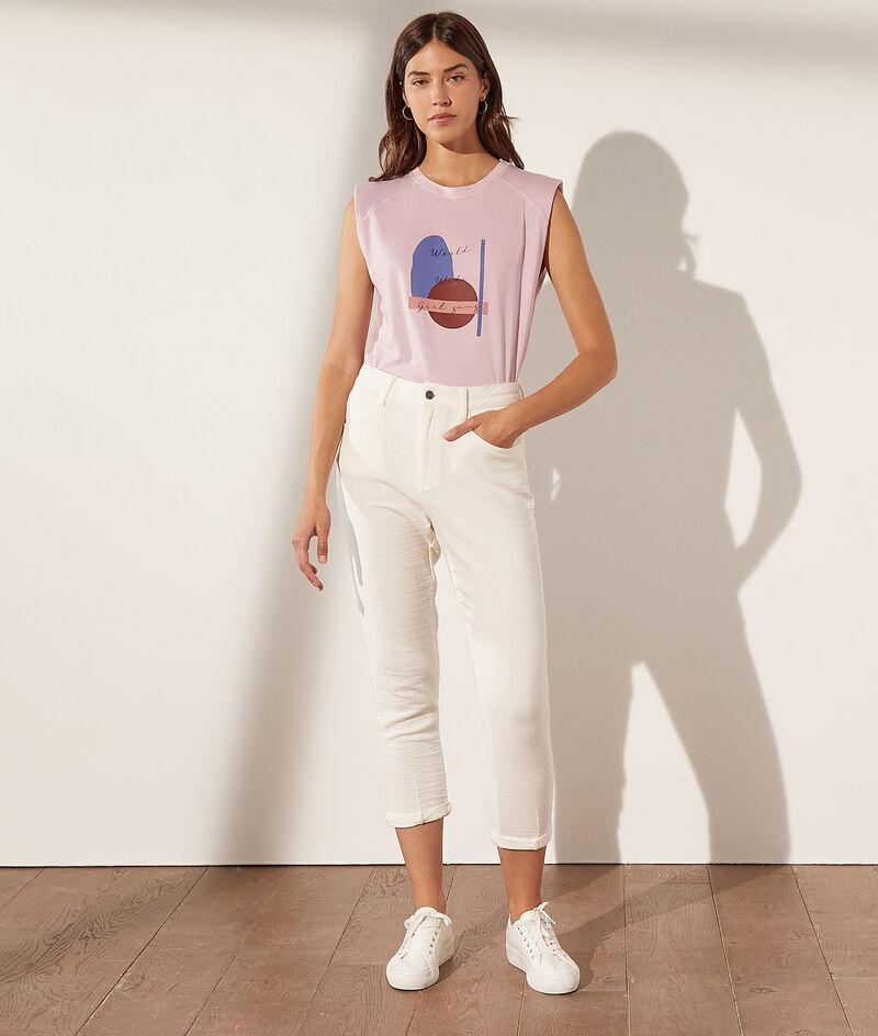 Katoenen T-shirt met print en epauletten