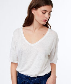 T-shirt en lin col v blanc.