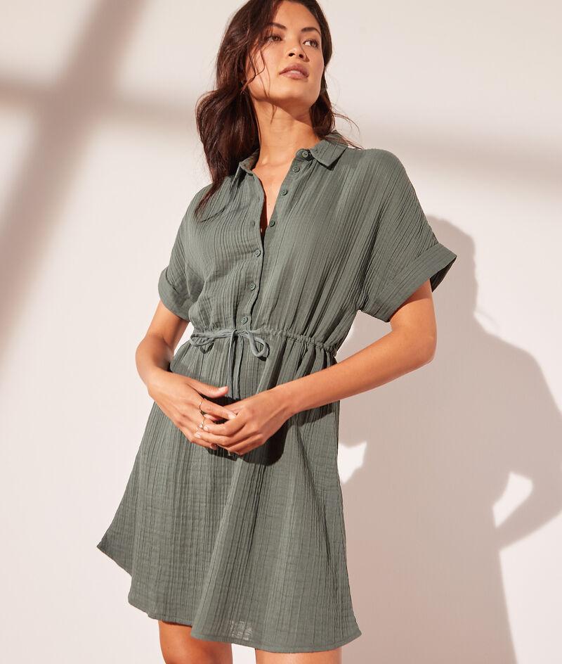 Robe chemise à nouer en gaze de coton