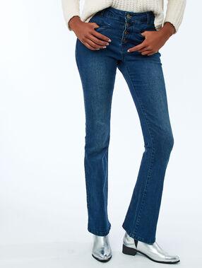 Flared jeans met knopen aan de voorkant blauw.