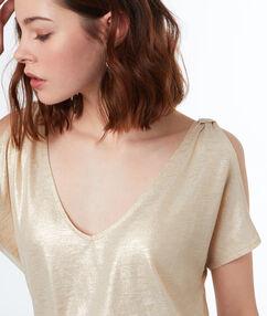 T-shirt col v doré.