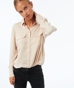 Tencel® shirt met 2 zakken beige.