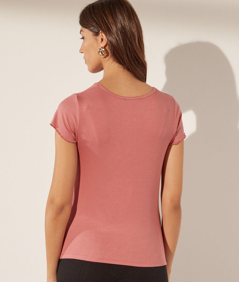T-shirt col V boutonné