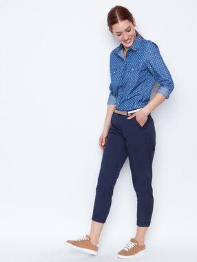 Chemise en jean à pois denim.