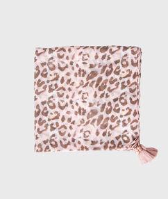 Foulard imprimé léopard kaki.