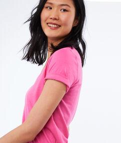 V-hals t-shirt in katoen roze.