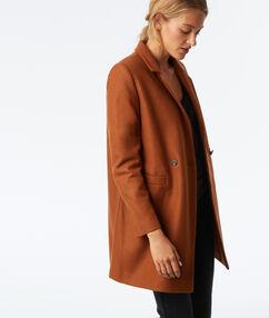 Manteau 3/4 en laine mélangée marron.