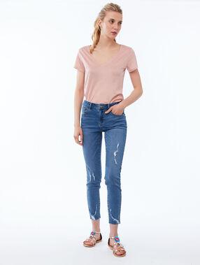 Skinny jeans met geript effect blauw.